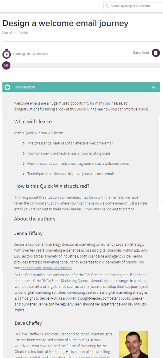 Author for the Smart Insights new quick win guide: Welcome email journey