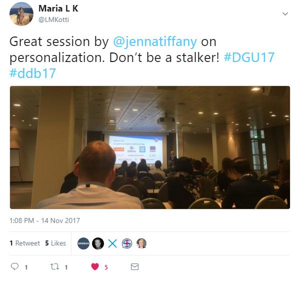 Twitter audience feedback DDB17 on Jenna Tiffany speaking in Berlin